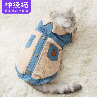 Warm cotton cat clothes small milk cat pets to prevent hair autumn winter, short young cat cute blue cat
