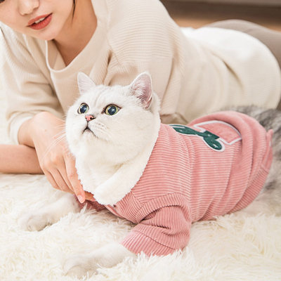 Corduroy cat cotton clothes, small milk cats, pets, anti-hair fall and winter clothes, warm and thick dog clothes