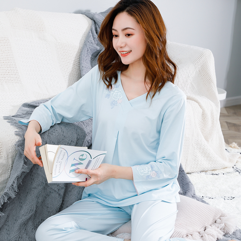 Huina zionspring pyjamas women spring Moredale cotton long-sleeved head V-neck thin sleeve summer home suit.
