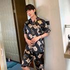 情侣睡衣女夏季冰丝绸短袖短裤薄款家居服男印花休闲卡通两件套装