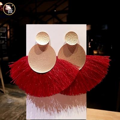 新年红度假欧美扇形耳环流苏耳坠气质长款 简约百搭复古耳饰品