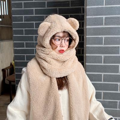 小熊耳朵连体帽子围巾一体女冬季毛毛围脖百搭韩版可爱少女两件套
