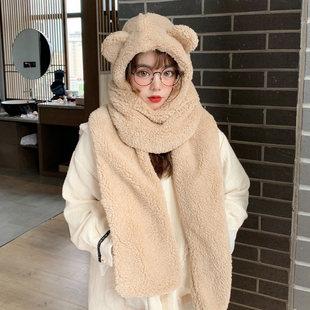 Медвежата счет цветок, бутон шляпа женский осенний зима милый зима плюш шарф закрытый один корейский дикий теплый волна