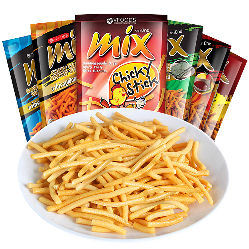 泰国VFOODS MIX原味脆脆条膨化办公室休闲零食食品75g*6包包邮