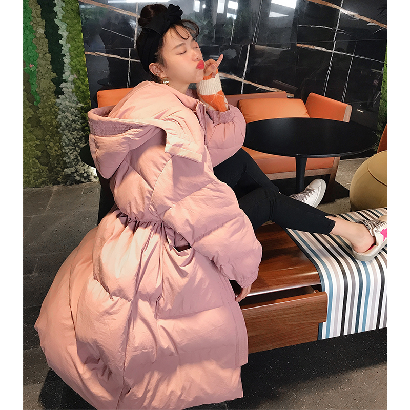 鬼鬼家 韩国代购东大门新款正品 非常好巨推粉保暖工装长羽绒服