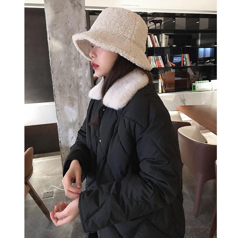 鬼鬼家韩国代购东大门新款棉服冬巨暖外套菱格长款棉衣毛领正品