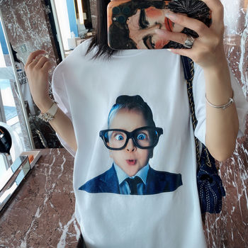 Zhang Yanni spring and summer new BABY printT t-shirt this issue of the popular oversize loose age-reducing couple version