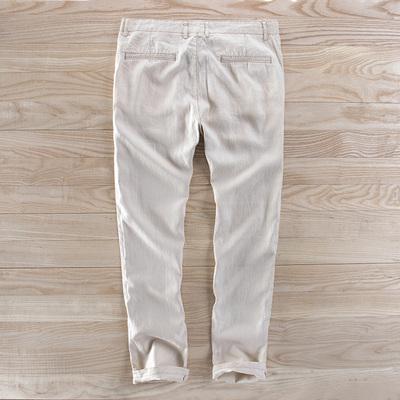 Quần lanh đơn giản quần tây nam mùa xuân và mùa hè mới đơn giản rộng kích thước lớn thẳng mỏng thoải mái quần dài - Quần