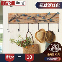 Pastoral style wooden Decorative hook creative personality home solid wood Clothing