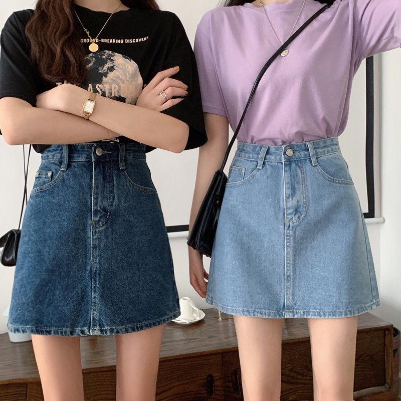 韩版百搭高腰显瘦显高A字牛仔裙