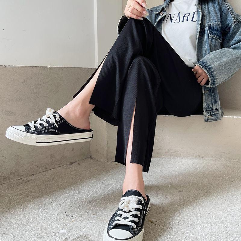 冰丝阔腿裤子2021新款潮流夏季薄款宽松百搭高腰休闲拖地直筒裤