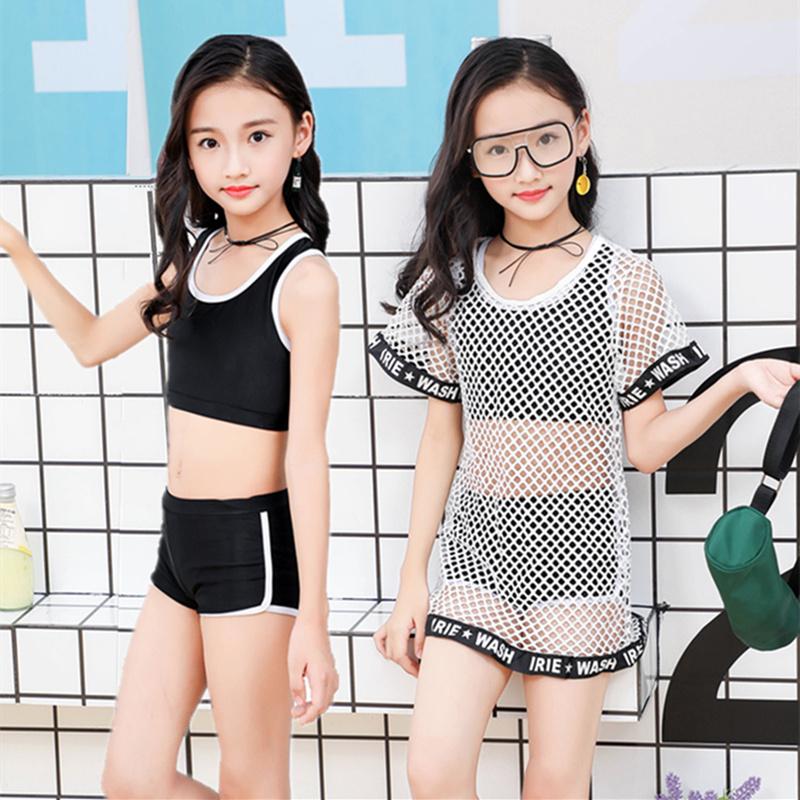平角游泳衣女孩宝宝件套比基尼泳装分体小童裤大中儿童网纱三女童