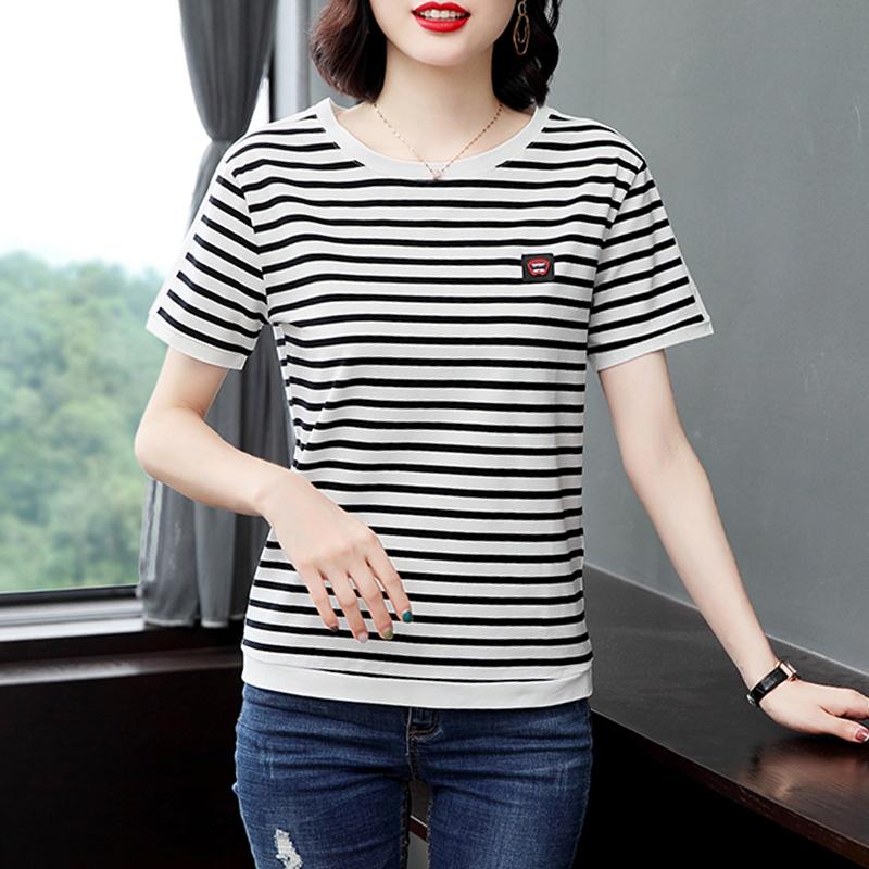 妈妈装新款夏季港风条纹T恤百搭短袖