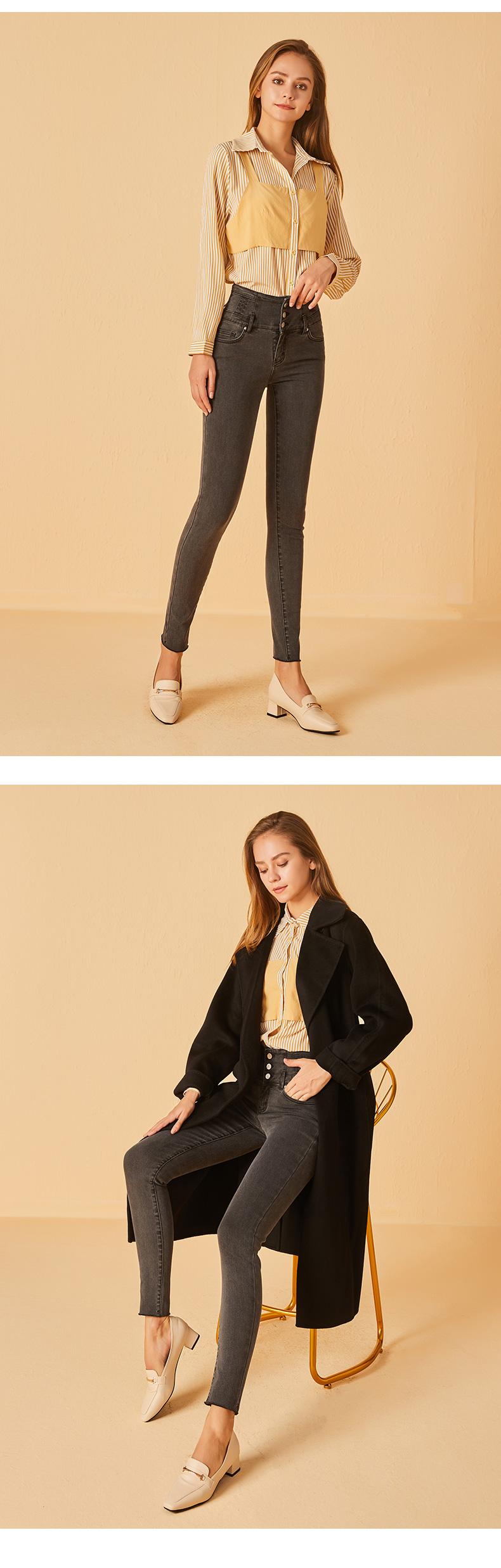 高腰牛仔裤女士年秋冬修身显瘦弹力紧身加薄绒小脚长裤详细照片