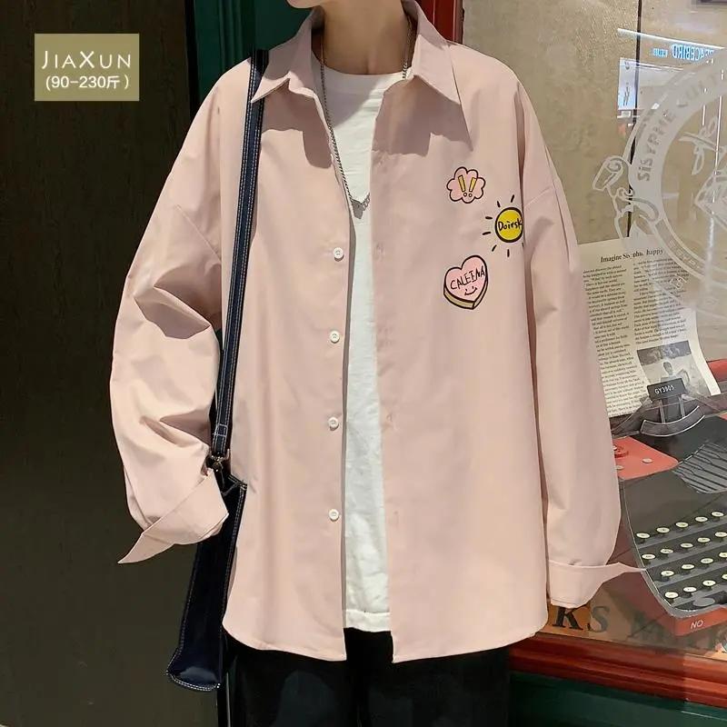 粉色小熊衬衫男士长袖春秋夏季韩版潮流休闲情侣装衬衣大码胖外套