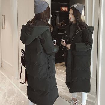 冬装羽绒棉服女中长款加厚棉衣服