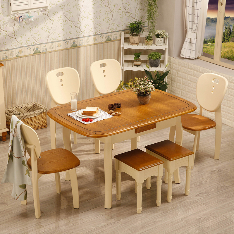 Mediterranean Style Dining Table And Chair Combination American Round Solid Wood Furniture Retractable Small Apartment Folding