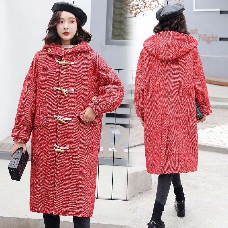 连带帽驼色呢子大衣女中长款春款宽松休闲牛角扣戴帽子毛呢外套