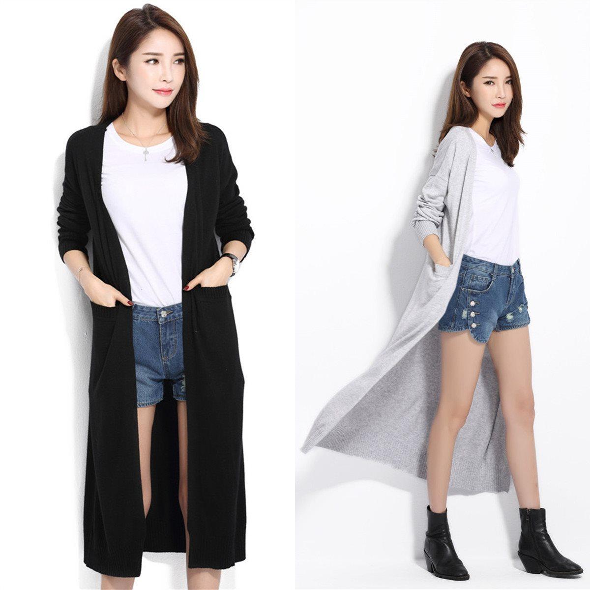 2019春夏新款女超长款薄毛衣外套韩版过膝针织开衫时尚百搭衫