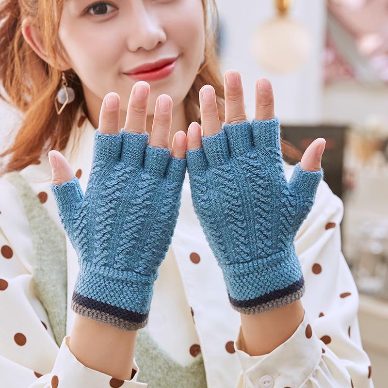 针织毛线半指保暖手套-秒客网