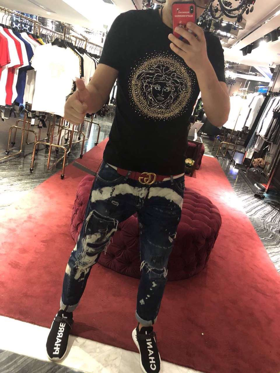Vaasa nam giới và phụ nữ làm bóng bông thêu kim cương nóng sequins vẻ đẹp Mỏng Dusha đầu chất béo kích thước lớn T-Shirt ngắn tay áo triều áo tommy