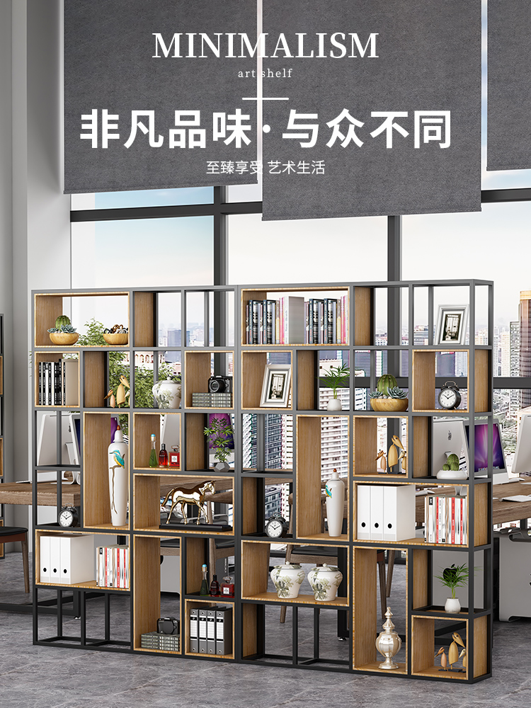 American Wrought iron partition shelf Dining room screen Living room entrance Office decoration Solid wood industrial style storage shelf