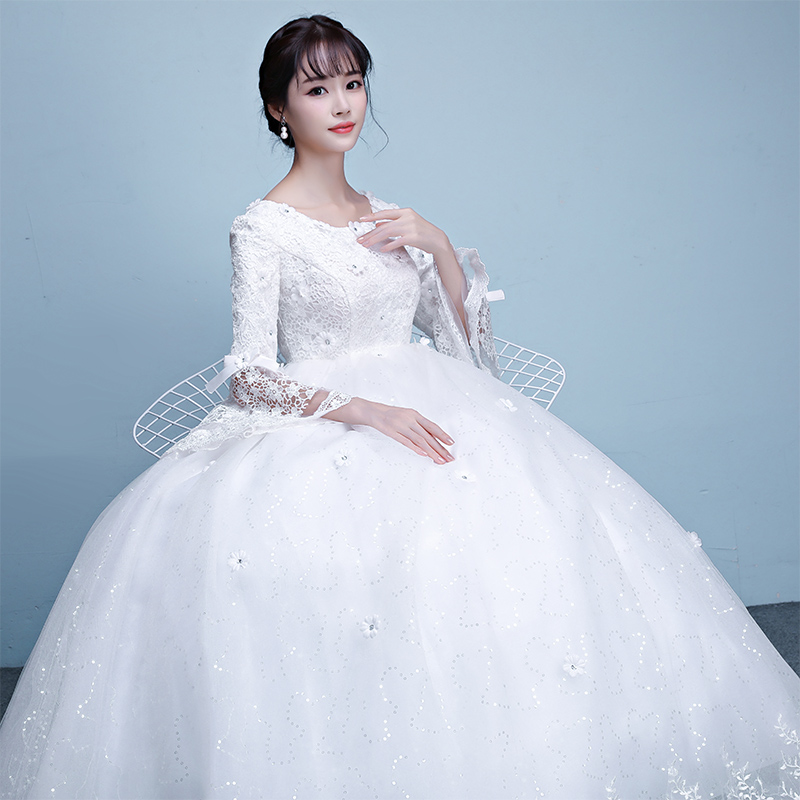 USD 125.11] Maternity wedding dress 2018 is a new summer long sleeve ...