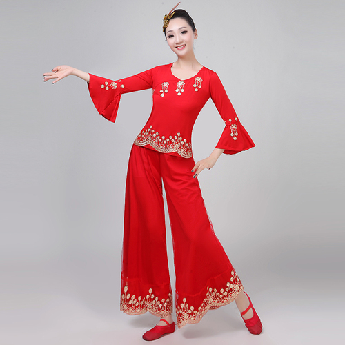 Chinese folk dance dress for women Yangko costume performance dress female waist drum dress Fan Dance Costume middle aged and elderly square dance suit