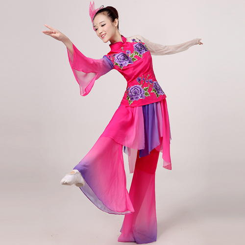 Chinese folk dance dress for women Classical dance costumes women elegant Chinese style dance costumes modern square dance suits Yangko costumes for adults