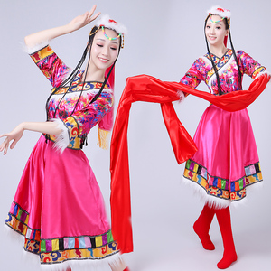 Chinese folk dance dress for women Tibetan dance performance costume, Female Minority style, modern Zhuoma water sleeve dance suit, square dance suit