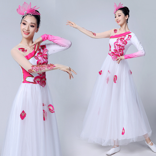 Chinese folk dance dress for women Opening dance big swing skirt female adult stage large modern dance dress skirt Chinese style chorus performance Costume