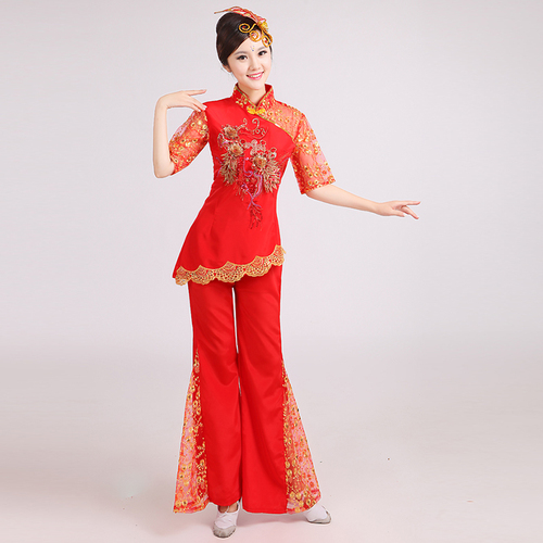 Chinese folk dance dress for women Yangko costume female Northeast Folk Dance Costume modern fan dance square dance suit adult