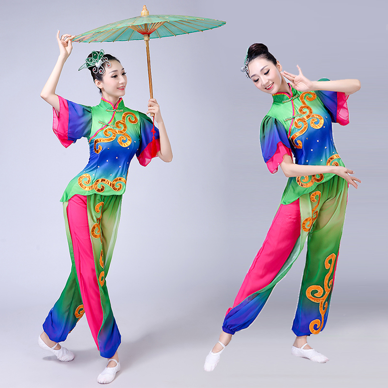 Chinese folk dance dress for women Waist drum team costume Yangko performance costume female national drum costume square dance suit adult