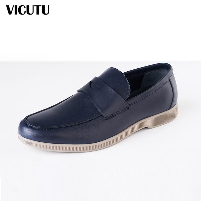 VICUTU/威可多商务皮鞋男士v商务百搭牛皮皮鞋无带低帮鞋