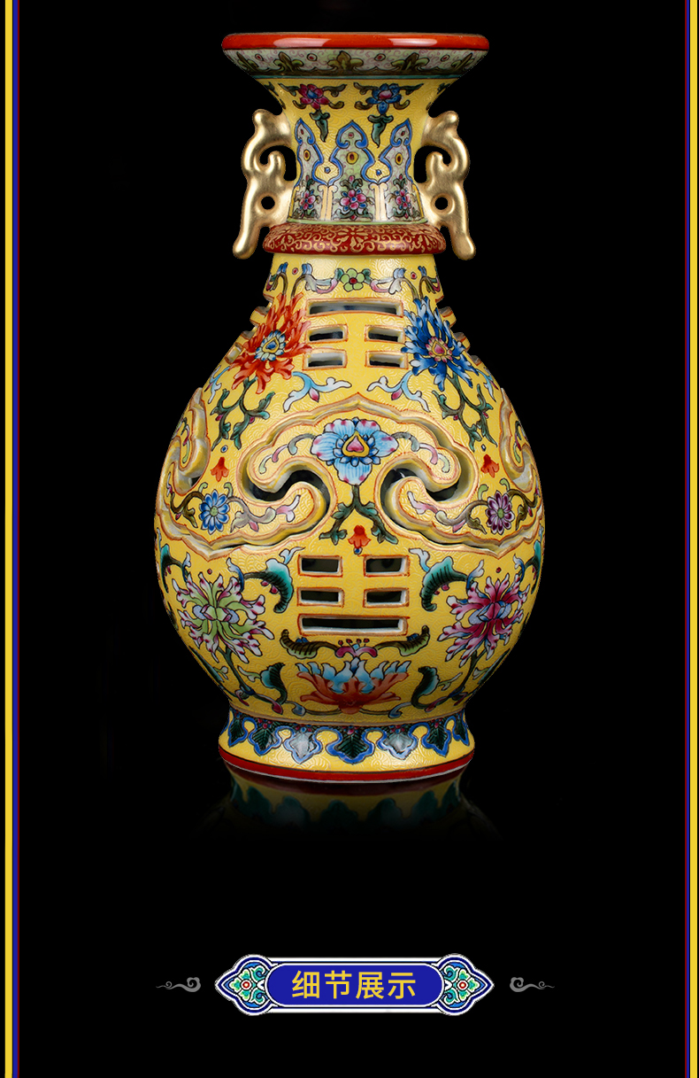 Better sealed up with jingdezhen antique hand - made famille rose porcelain vase furnishing articles sitting room floret bottle of new Chinese style of art