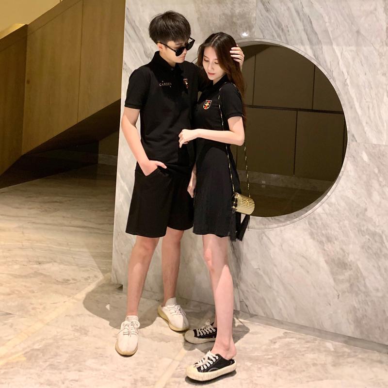 情侣装夏装黑色v夏装感修身polo连衣裙2019新款ins一裙子一衣小众