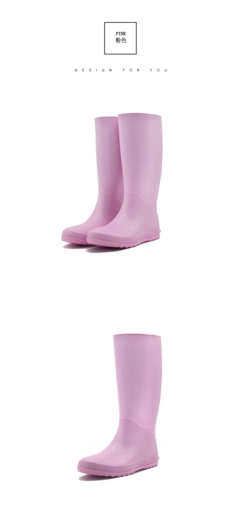 日系简约轻便时尚款外穿雨靴长筒水鞋防水防滑胶鞋高筒水靴雨鞋女详细照片
