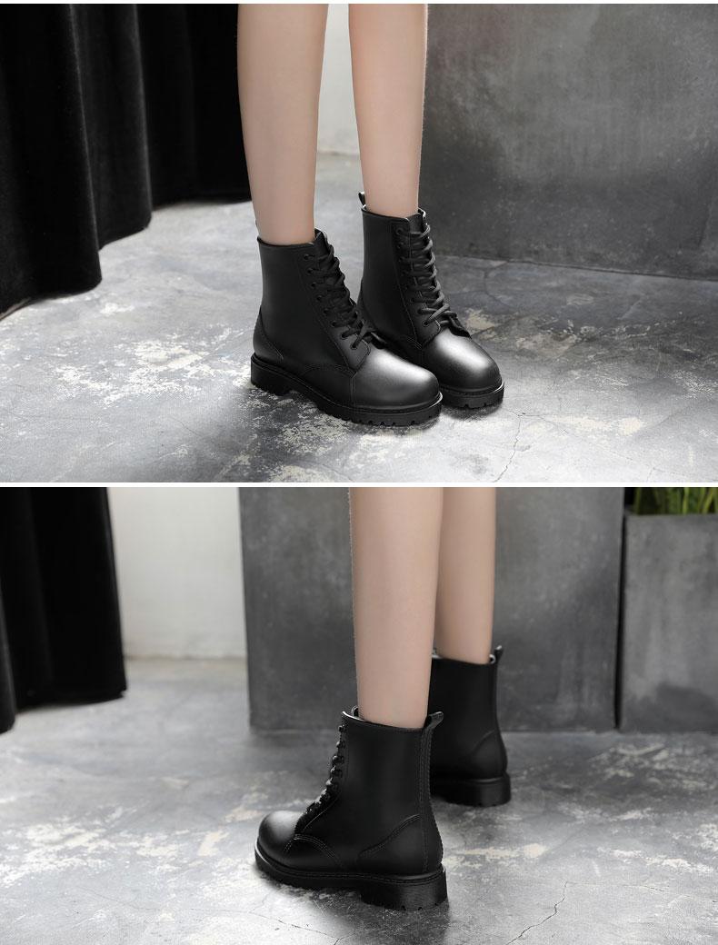 【天天】雨鞋 時尚馬丁雨靴成人防水雨鞋女中筒韓國防滑水鞋學生膠鞋下雨防水鞋 快速出貨【