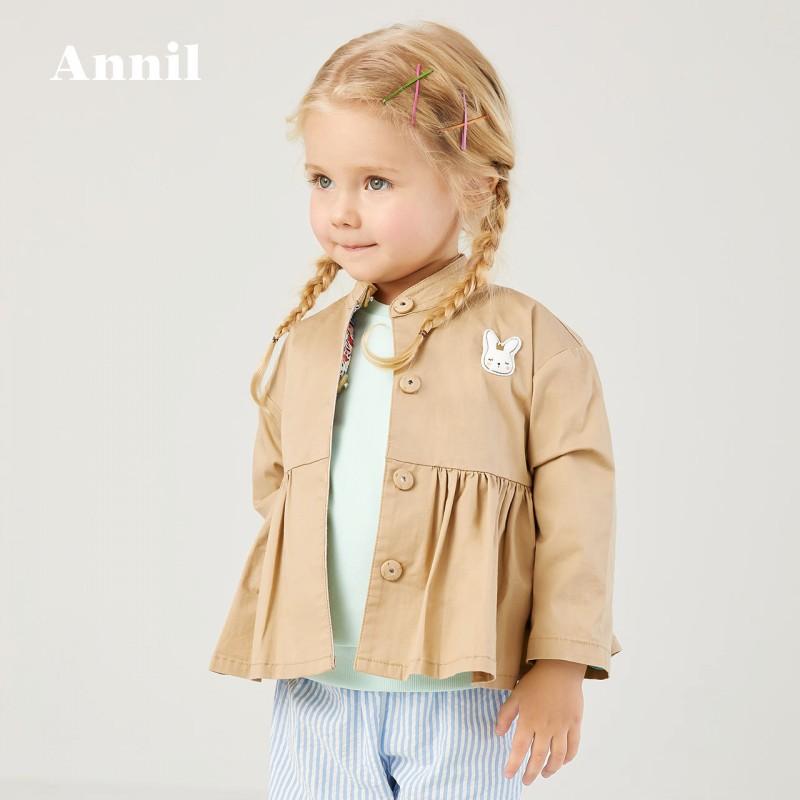安奈儿女宝宝风衣长袖2020新品小女孩英伦风洋气裙衣荷叶边外套春