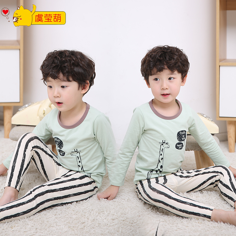 95321ddd58 Baby Autumn pants cotton boy girl long sleeve children warm underwear set  Spring pajamas children cotton