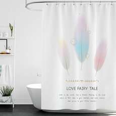 Nordic shower curtain set free punching toilet partition waterproof thickening mildew bathroom shower curtain door curtain