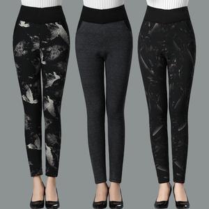 新款中老年冬季加绒加厚驼绒棉裤女士高腰外穿修身保暖裤妈妈花裤