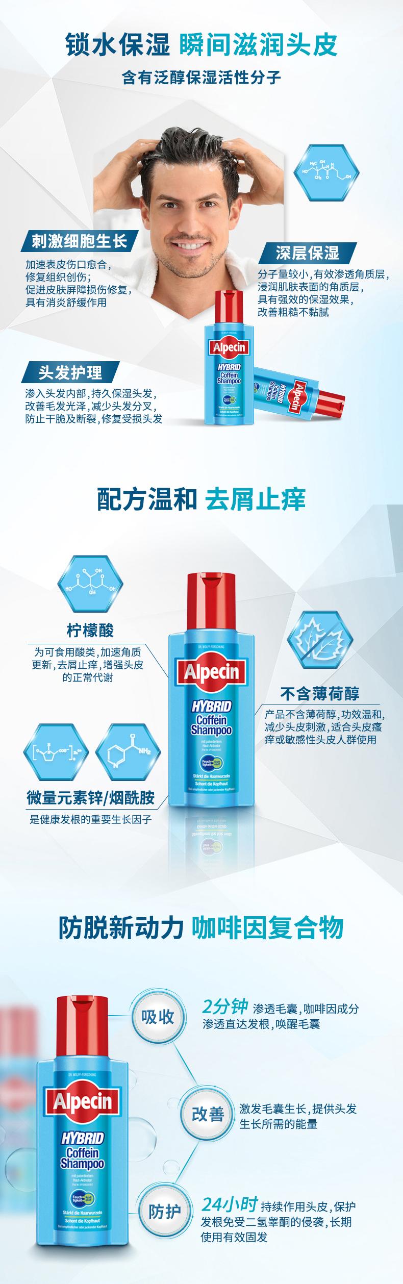 德国 Alpecin 阿佩辛 双动力防脱咖啡因洗发水 250ml 图3