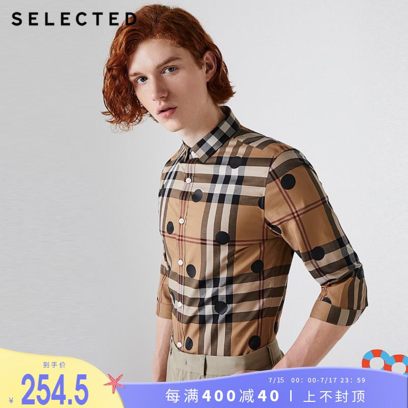 SELECTED思莱德衬衫潮帅气新棉波点修身七分袖格子男S|419231527