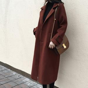 焦糖色大衣女2018秋冬新款森系毛呢外套学生中长款韩版过膝呢大衣
