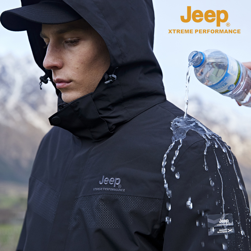 jeep flag 艦 shop official genuine jeep punching clothes men three-in-one removable climbing clothing tide brand windproof jacket
