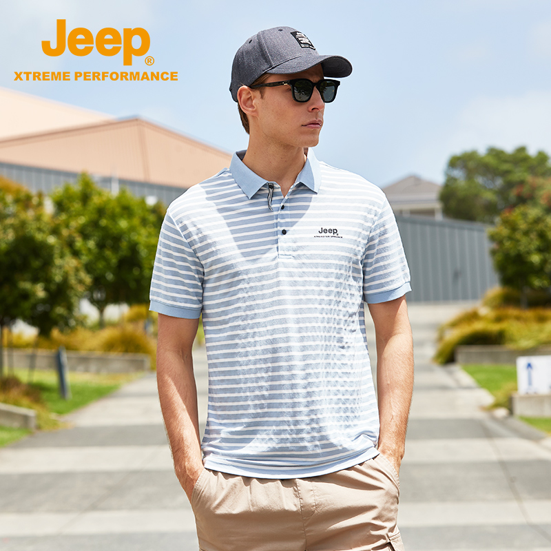 jeep flag shop official genuine jeep striped t-shirt men's short-sleeved T-shirt young loose-fitting large size Polo shirt