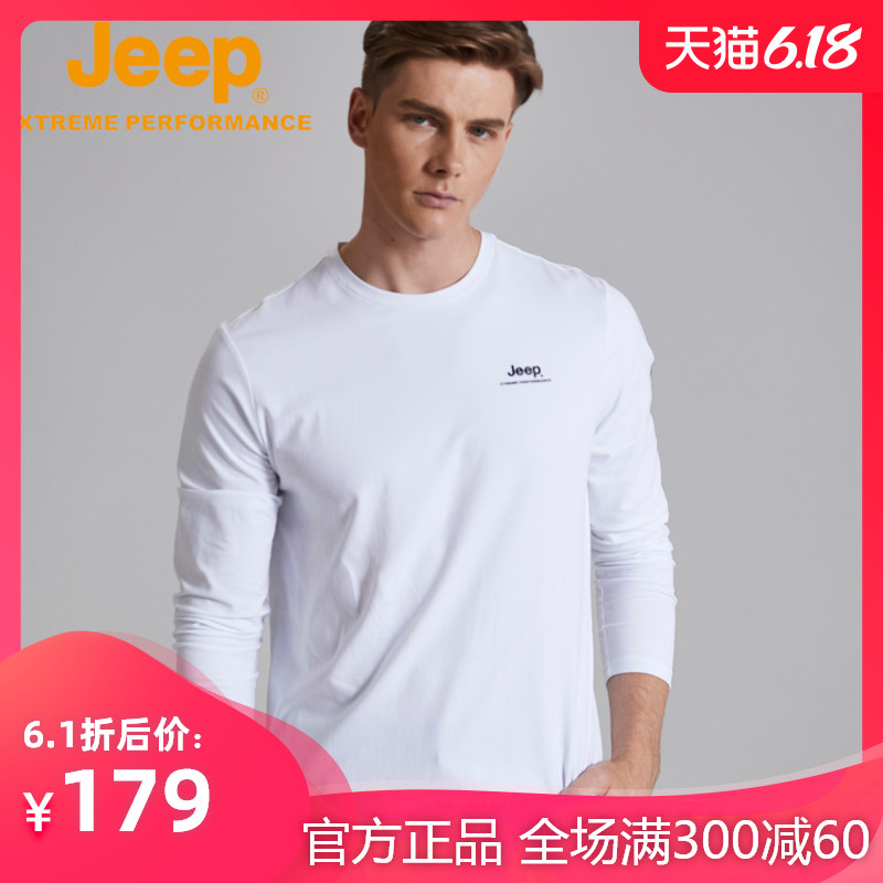 jeep flag shop official genuine Jeep Spring and Autumn long-sleeved T-shirt round-necked top sports T-shirt guard men's tide
