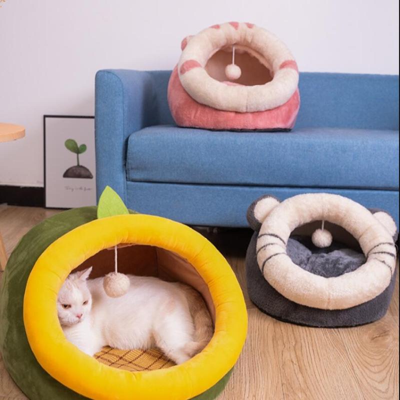 猫窝四季通用狗窝猫咪半封闭式房子保暖猫别墅冬季凉窝可拆洗用品