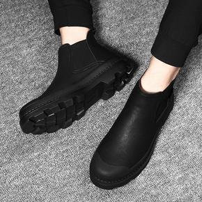 冬季男鞋韩版潮流高帮皮鞋加绒马丁靴